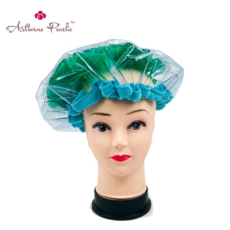pearlie gel bead microwave heated Thermal condition steaming salon hair care mask cap bonnet