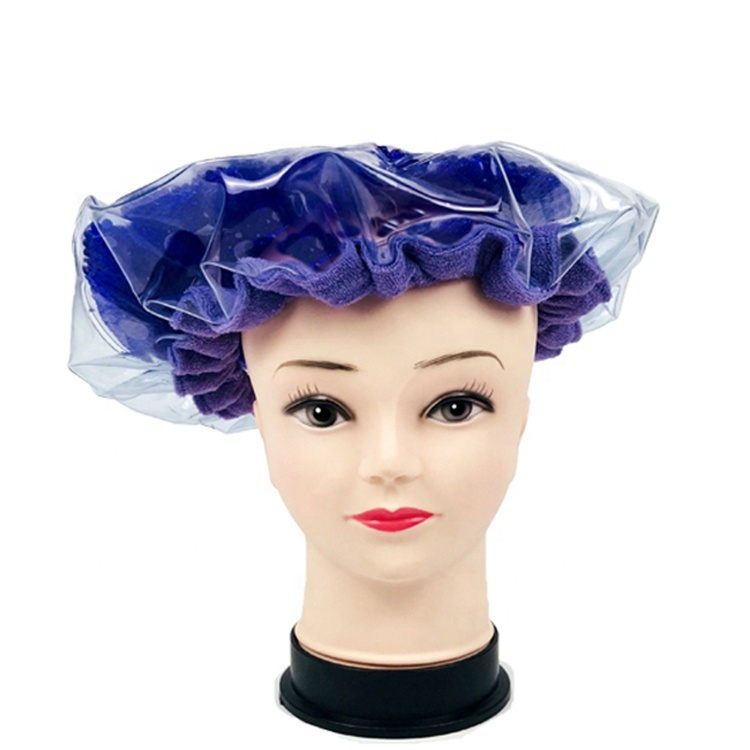 Reusable pearlie gel bead microwave heated conditioning hair care mask cap bonnet