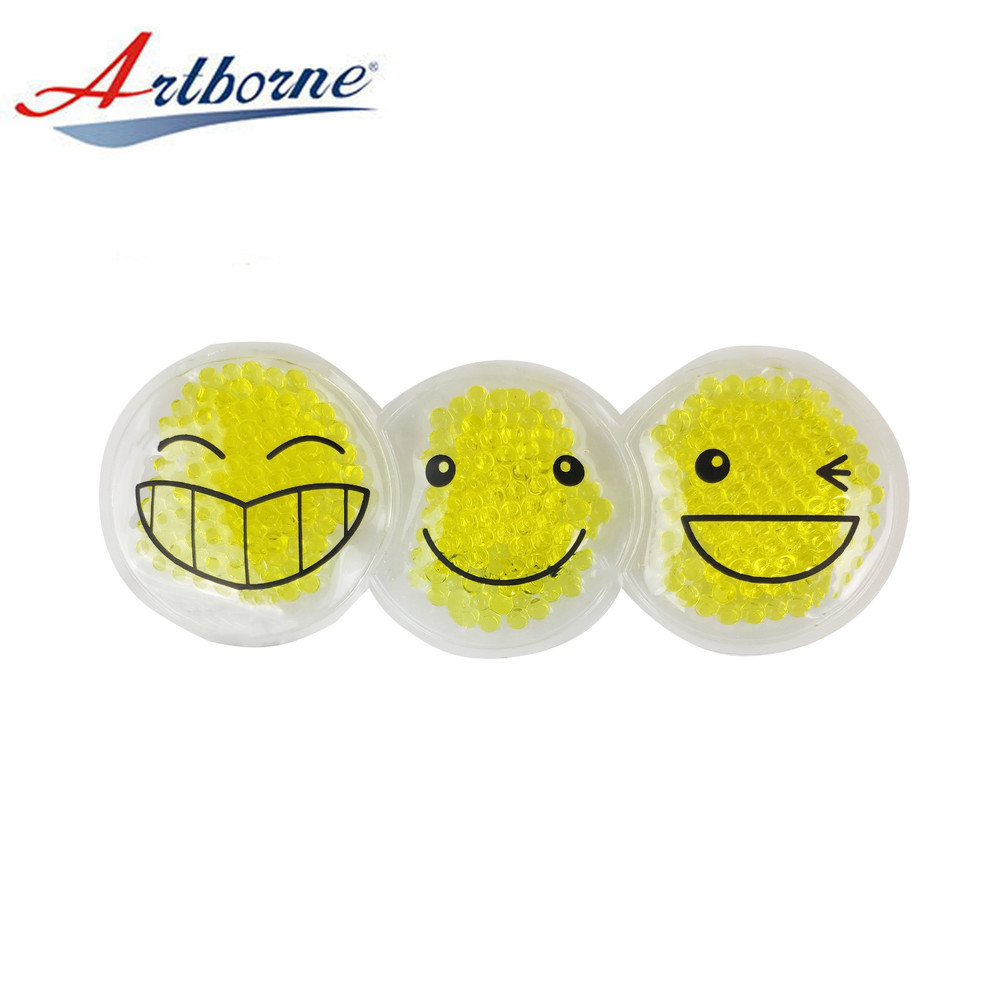 Customized Round Shape Smile Pattern Heat Cold Pack for Hand Warmer Reusable Hot and Cold Therapy Gel Bead Ice Gel Pack for Gift