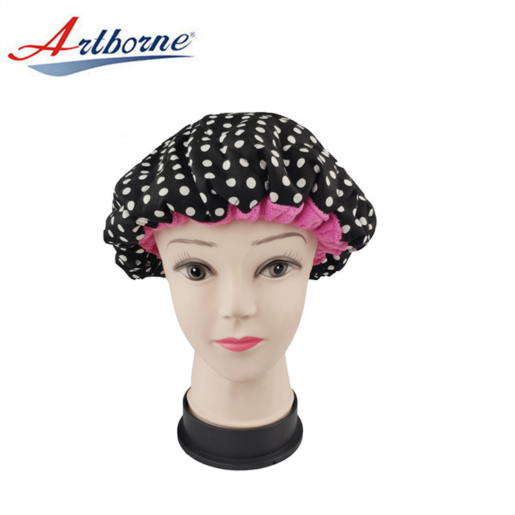 Flaxseed Deep Conditioning Heat Cap 100% Safe Microwave Hot Cap for Natural Curly Textured Hair Care Drying Polka Dot Bonnet Cap
